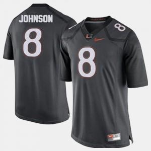 #8 Men's Duke Johnson Miami Jersey College Football Gray 620197-614