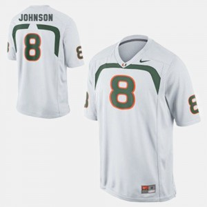 College Football White Duke Johnson Miami Jersey For Men's #8 788403-858