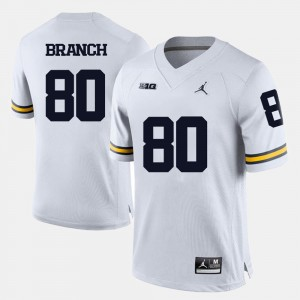 College Football For Men's #80 Alan Branch Michigan Jersey White 800685-302