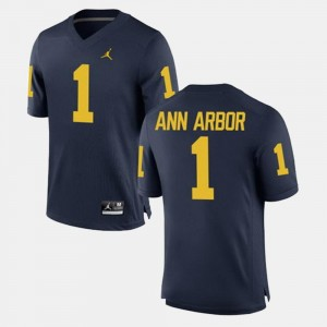For Men's Ann Arbor Michigan Jersey Alumni Football Game #1 Navy 906010-114