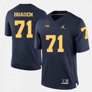 Navy Blue College Football For Men #71 Ben Braden Michigan Jersey 543893-968