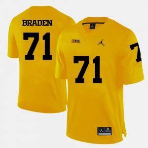 Yellow #71 Ben Braden Michigan Jersey Men's College Football 722316-168
