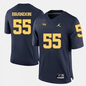 College Football #55 For Men's Brandon Graham Michigan Jersey Navy Blue 446525-917