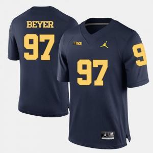 Men College Football #97 Brennen Beyer Michigan Jersey Navy Blue 518587-212