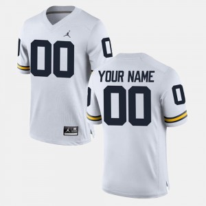 Men Michigan Customized Jersey #00 College Limited Football White 736072-120