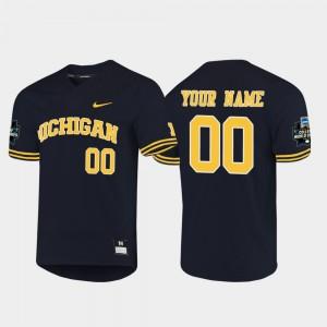 #00 Michigan Customized Jersey 2019 NCAA Baseball College World Series Navy Men's 926960-272