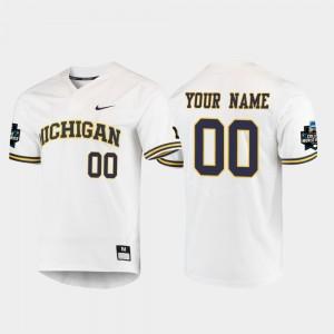 Men Michigan Customized Jerseys 2019 NCAA Baseball College World Series White #00 712648-630