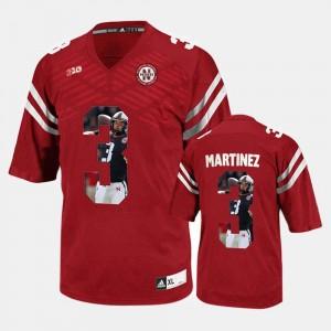 Taylor Martinez Nebraska Jersey #3 Men's Red Player Pictorial 861837-475