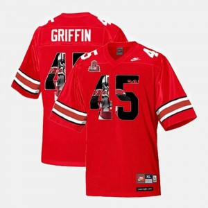 Throwback Scarlet For Men #45 Archie Griffin OSU Jersey 653564-827