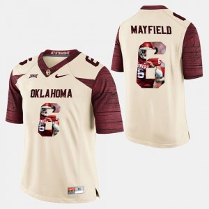 Player Pictorial White #6 Baker Mayfield OU Jersey Men's 132801-319
