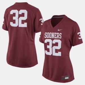 #32 College Football Crimson OU Jersey Women's 973861-875