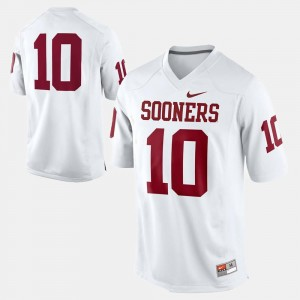 College Football #10 White Mens OU Jersey 312657-930