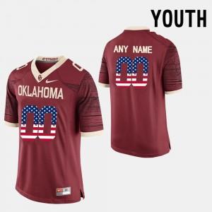 #00 US Flag Fashion Kids OU Custom Jersey Red 867388-202