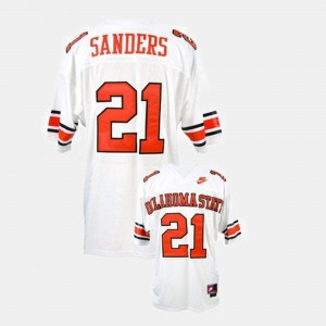 College Football Men White Barry Sanders Oklahoma State Jersey #21 653631-588