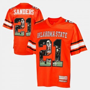 Orange Player Pictorial #21 Barry Sanders Oklahoma State Jersey Mens 710539-336