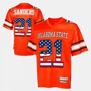 #21 Orange Barry Sanders Oklahoma State Jersey Throwback For Men 674076-744