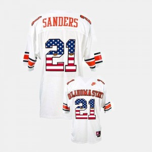 White Throwback Barry Sanders Oklahoma State Jersey #21 For Men 573157-309