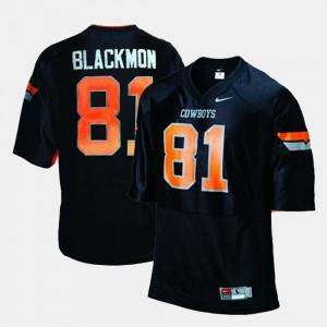 #81 College Football Youth Black Justin Blackmon Oklahoma State Jersey 850209-469