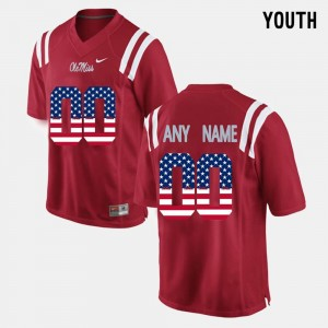 For Kids Red Ole Miss Custom Jersey #00 US Flag Fashion 337382-169
