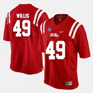 Alumni Football Game Patrick Willis Ole Miss Jersey Mens Red #49 873426-397