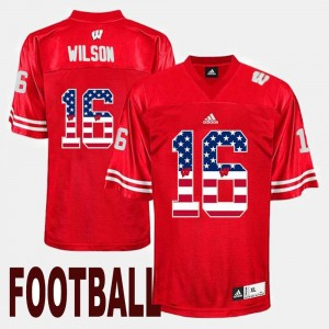 #16 Russell Wilson Wisconsin Jersey Mens Red US Flag Fashion 111379-641