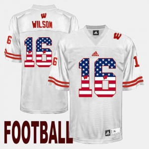 #16 Men Russell Wilson Wisconsin Jersey US Flag Fashion White 901164-879