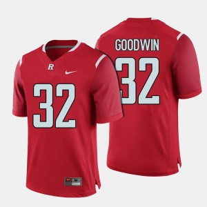 College Football Mens #32 Justin Goodwin Rutgers Jersey Red 890620-593