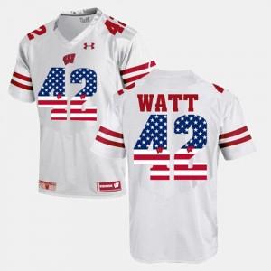 White #42 Men's US Flag Fashion T.J Watt Wisconsin Jersey 953625-610