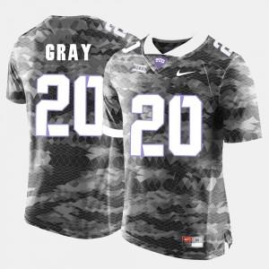 College Football For Men's Deante Gray TCU Jersey Grey #20 394235-486