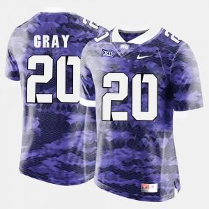Deante Gray TCU Jersey Purple Men's College Football #20 436744-716