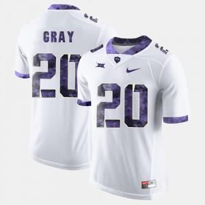 For Men #20 White Deante Gray TCU Jersey College Football 870033-454