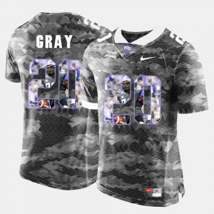 For Men's Deante Gray TCU Jersey #20 Grey High-School Pride Pictorial Limited 909777-241