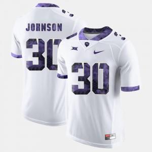 College Football Men #30 Denzel Johnson TCU Jersey White 355620-413