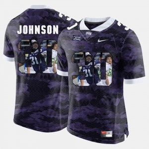 #30 Denzel Johnson TCU Jersey Mens Purple High-School Pride Pictorial Limited 171138-318