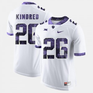 #26 White College Football For Men's Derrick Kindred TCU Jersey 326994-183
