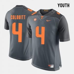 College Football #4 Grey For Kids Britton Colquitt UT Jersey 888801-892