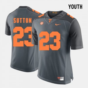 College Football Cameron Sutton UT Jersey #23 Grey Youth 779496-155