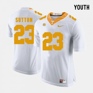 #23 Youth(Kids) White College Football Cameron Sutton UT Jersey 428643-444