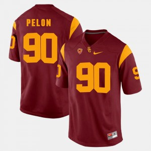 Pac-12 Game Men Red #90 Claude Pelon USC Jersey 831369-400