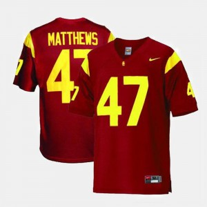 College Football Clay Matthews USC Jersey #47 Red Mens 783525-642