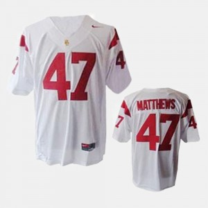 For Men #47 College Football Clay Matthews USC Jersey White 557721-646
