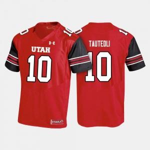 Red #10 Sunia Tauteoli Utah Jersey For Men College Football 457157-124