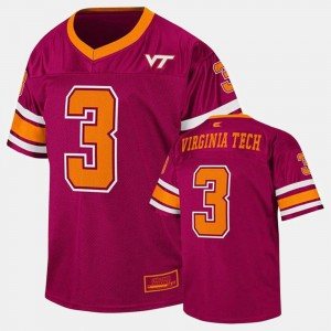 Maroon Youth Virginia Tech Jersey #3 College Football 650766-713