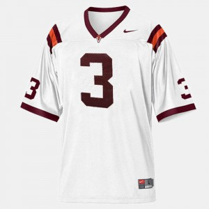 White Youth(Kids) #3 College Football Virginia Tech Jersey 256825-614