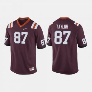 College Football #87 Maroon Men's Colton Taylor Virginia Tech Jersey 498167-767