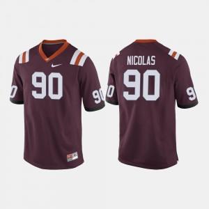 Maroon College Football Dadi Nicolas Virginia Tech Jersey #90 Men's 677350-909