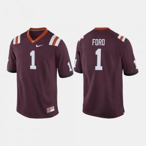 #1 College Football Men Maroon Isaiah Ford Virginia Tech Jersey 961992-317