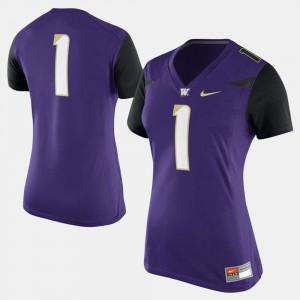 Purple Washington Jersey #1 College Football For Women 817469-705