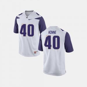 White Mens College Football Ralph Kinne Washington Jersey #40 748612-849