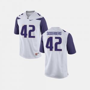 College Football For Men's #42 Van Soderberg Washington Jersey White 966908-297
